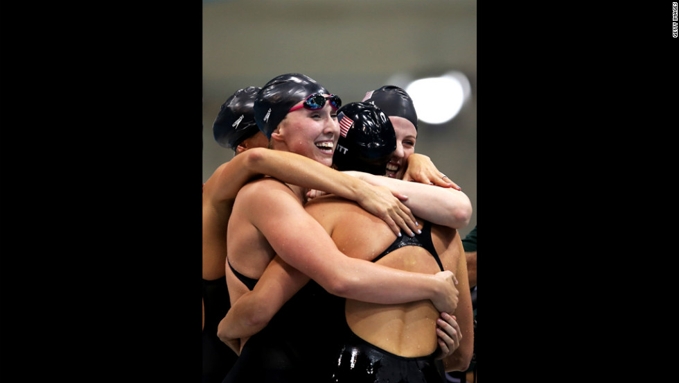 The U.S. team celebrates after winning the 4x200-meter freestyle relay.