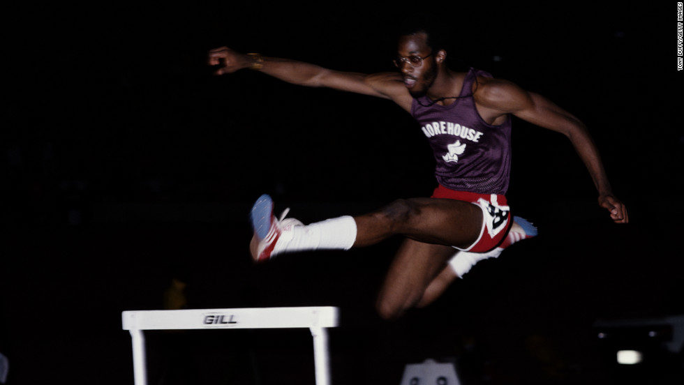 """A college student when his career began, Moses suffers from poor vision. """"If I'm standing at one hurdle, I can't even see the next hurdle."""""""