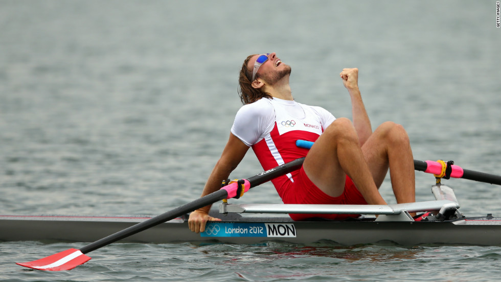 Mathias Raymond of Monaco reacts during the men's single sculls competition on Wednesday.