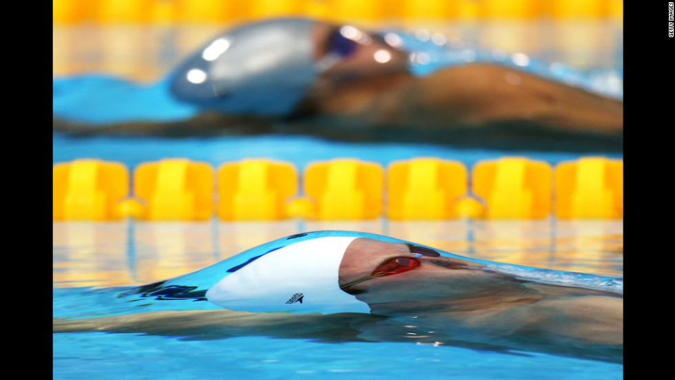 Sebastian Stoss of Austria competes in heat 1 of the men's 200-meter backstroke Wednesday.