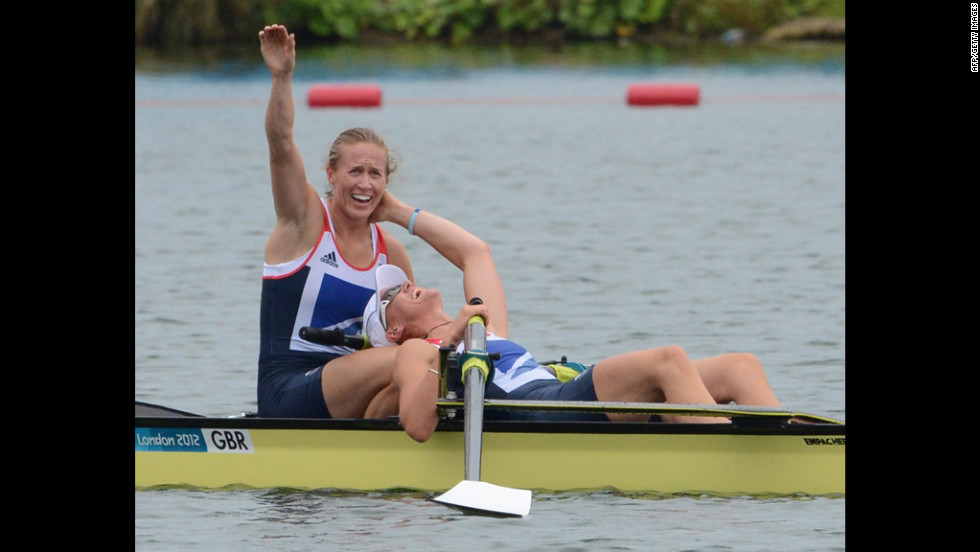 Great Britain's Helen Glover and Heather Stanning celebrate after winning gold in the women's pair final rowing event.