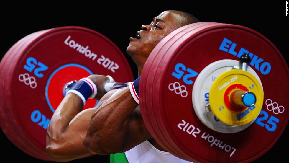 Felix Ekpo of Nigeria competes in the men's 77-kilogram weightlifting event Wednesday.