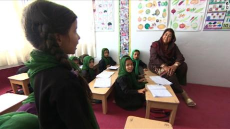 Razia Jan teaches at her school in Afghanistan.