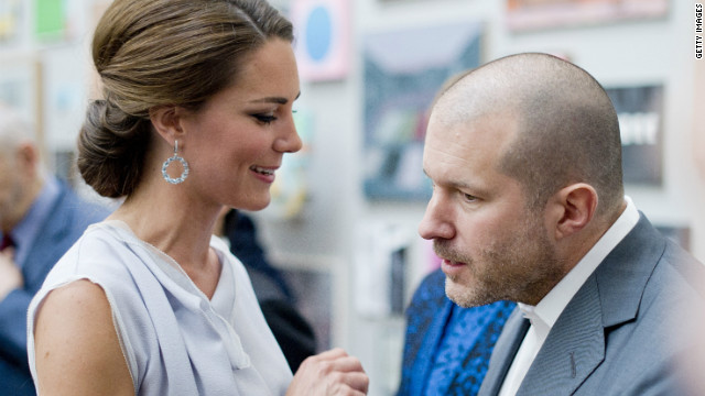 Apple design chief Jonathan Ive chats with Kate Middleton at an event in London on July 30.