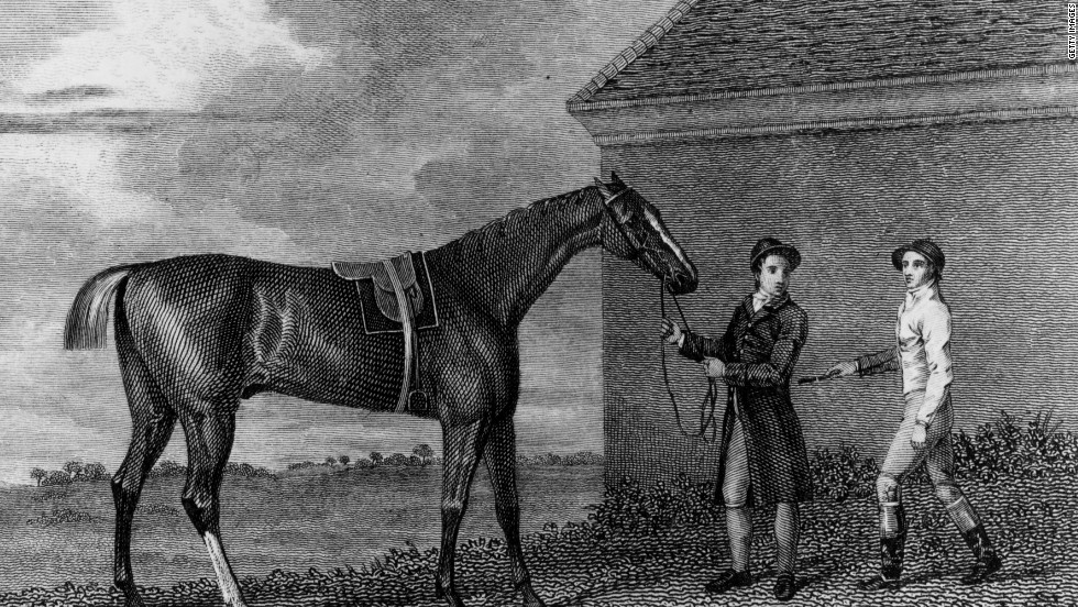 Grand foal of the Godolphin Arabian, Eclipse is perhaps the greatest thoroughbred ever to race. After 18 wins from 18 starts in only 17 months, Eclipse was retired to stud in 1771 due to lack of competition, as nobody would bet on the other horses. The Eclipse Stakes at England's Sandown Park are a testament to his legacy.