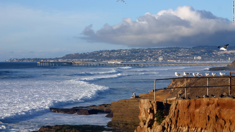 When she was in high school in the San Diego neighborhood of Point Loma, the author would hike down Sunset Cliffs (shown here) to get to the beach.