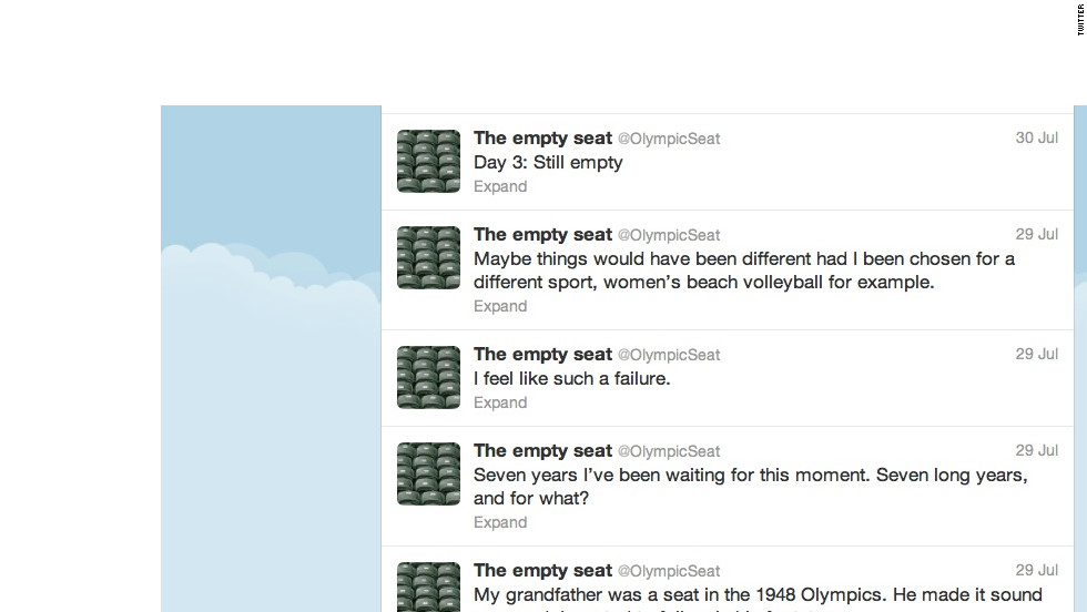 """This Twitter account spoofs the swaths of empty VIP seats that have been seen at Olympics venues in London. <a href=""""https://twitter.com/olympicSeat"""" target=""""_blank"""">@OlympicSeat</a> threatened to quit tweeting Friday, hours after a spectator finally relieved them from their empty existence. """"SOMEONE SAT DOWN! They actually sat down on little old me!"""" Followers: 21,010"""