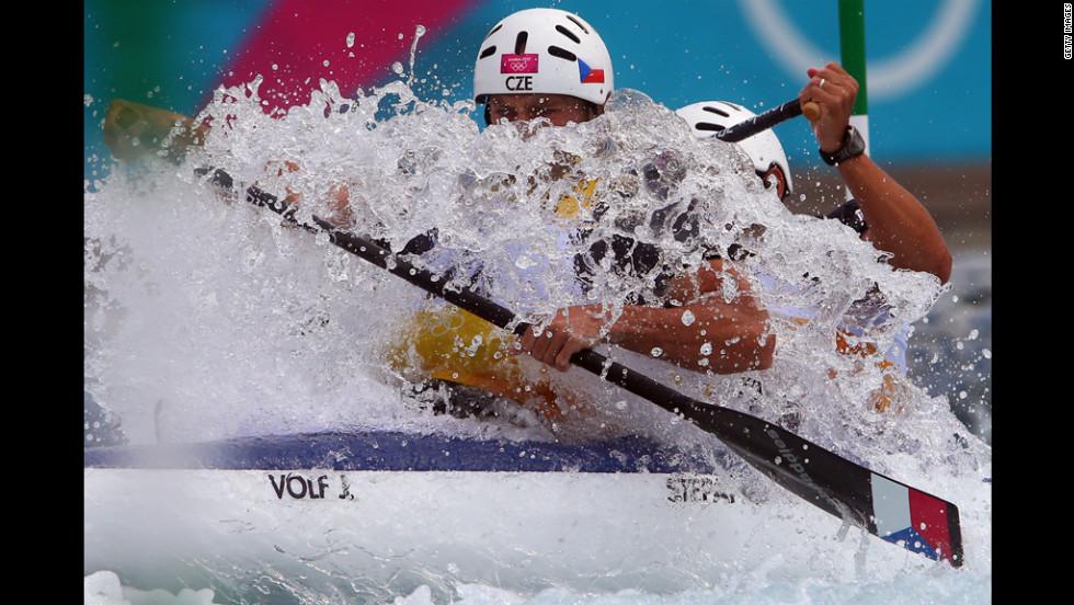 Jaroslav Volf, left, and Ondrej Stepanek of Czech Republic compete during the men's canoe double slalom.