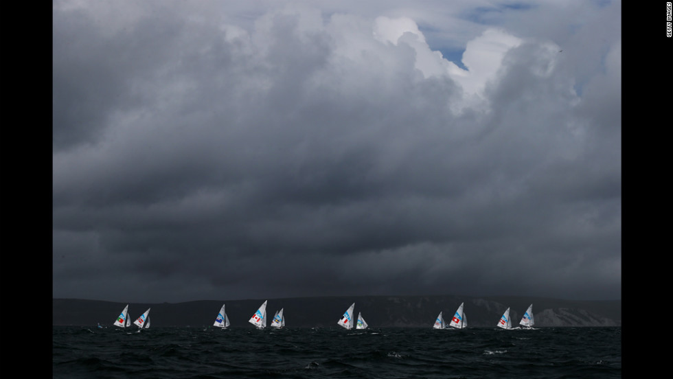 Competition gets underway in the men's star sailing in Weymouth, England.