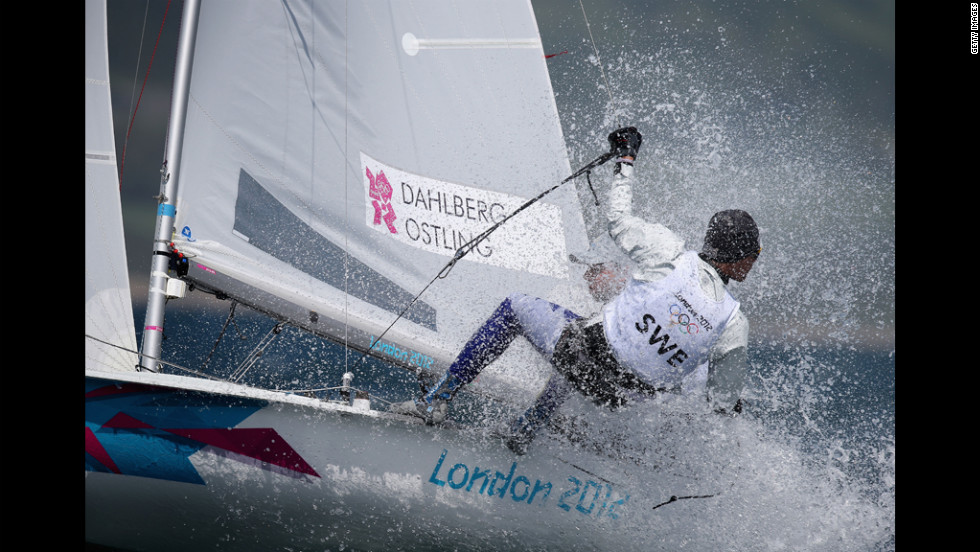 Sweden's Anton Dahlberg and Sebastian Ostling compete in the men's 470 sailing in Weymouth, England.