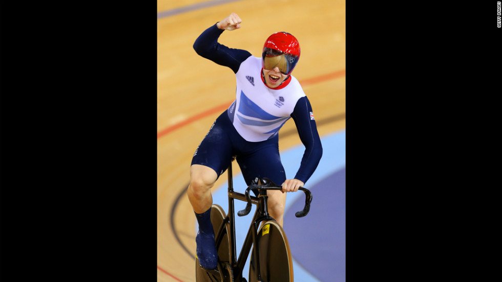 Great Britain's Philip Hindes celebrates during men's team sprint track cycling qualifying against Germany.