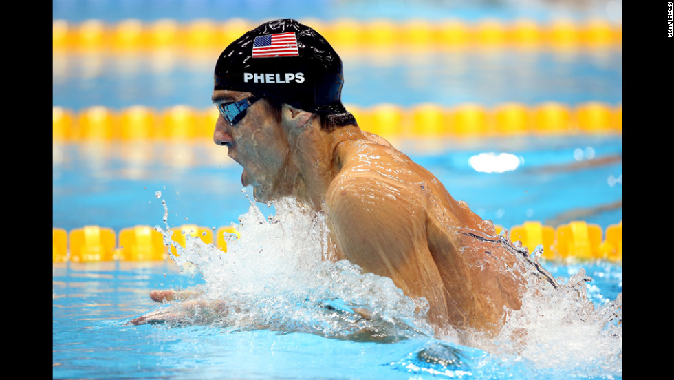 Phelps led from the first leg of the butterfly, his specialty, until he touched the wall more than a half-second ahead of teammate Ryan Lochte.