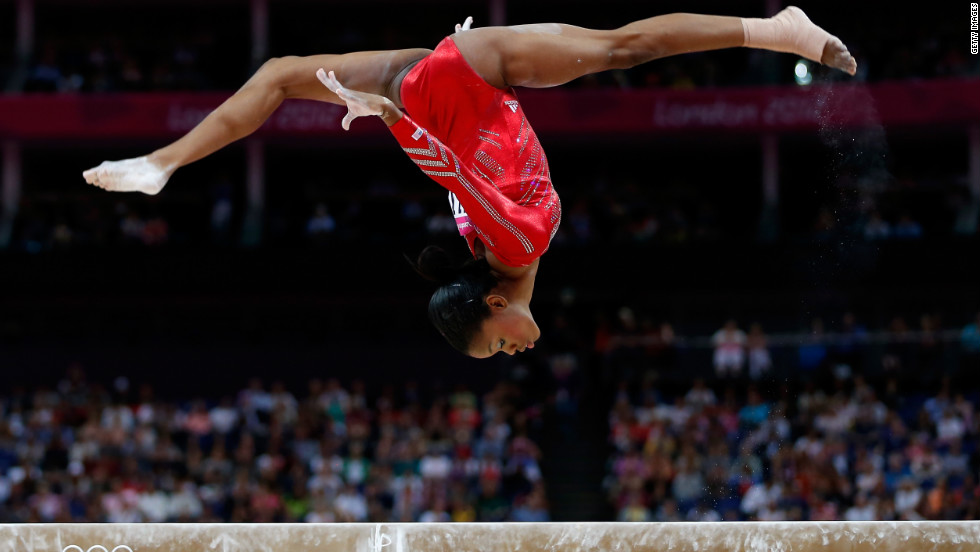 Not only is she the first African-American gymnast to perform for Team USA but 16-year-old Gabby Douglas also won two gold medals at the London 2012 Games (one in a team event and one as an individual).