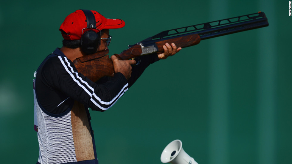 "Ahmed Al Hatmi of Oman competes in the men's double trap shooting qualification round. Check out photos from <a href=""http://www.cnn.com/2012/08/03/worldsport/gallery/olympics-day-seven/index.html"" target=""_blank"">Day 7 of the competition</a> from Friday, August 3."