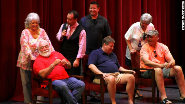 "Paula Deen and her husband Michael play ""The Newlywed Game"" with cruise guests."