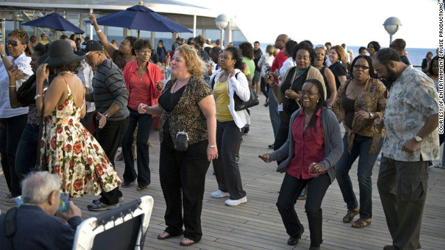 Guests dance on the deck on the Soul Train cruise.