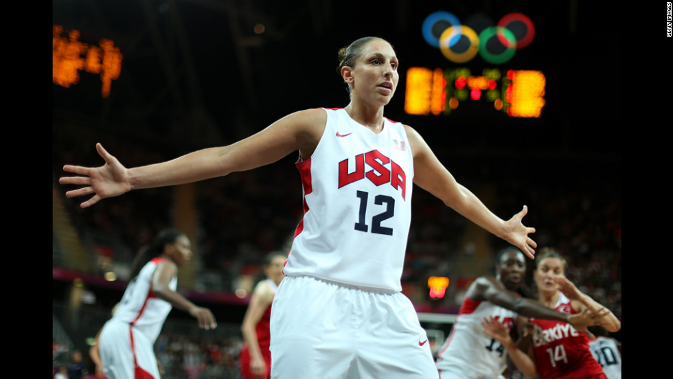 Diana Taurasi of the United States defends the inbound pass in the women's basketball preliminary round against Turkey.