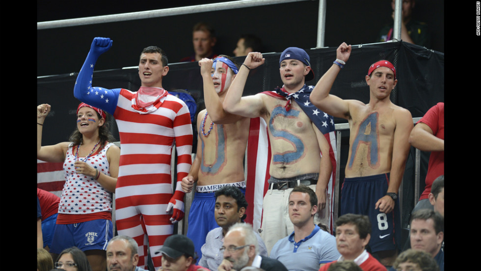 United States supporters attend the women's preliminary round group A basketball match between the United States and Turkey.