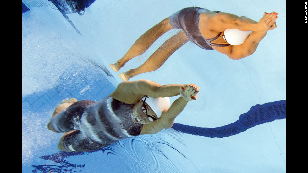 The Netherlands' Ranomi Kromowidjojo competes in the women's 100-meter freestyle final swimming event.