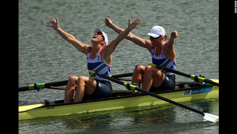 Katherine Grainger and Anna Watkins of Great Britain celebrate after winning gold in the women's double sculls final.