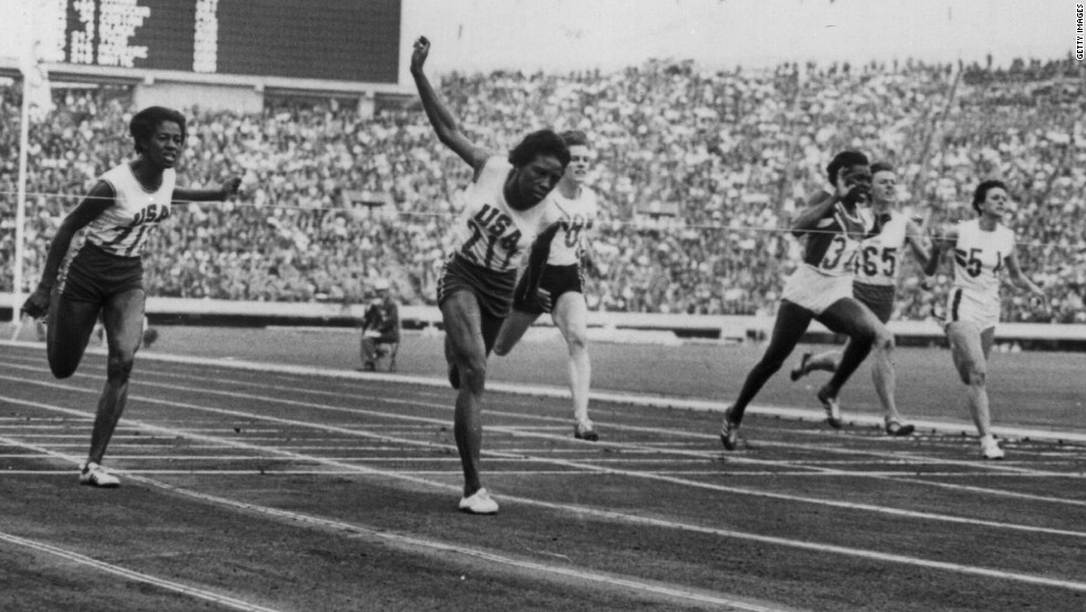 Wyomia Tyus became the first sprinter, male or female, to retain the 100m title at the Olympics when she triumphed in 1968, also winning gold in the 4x100m relay in Mexico. She is seen here winning the women's 100m final at Tokyo '64.