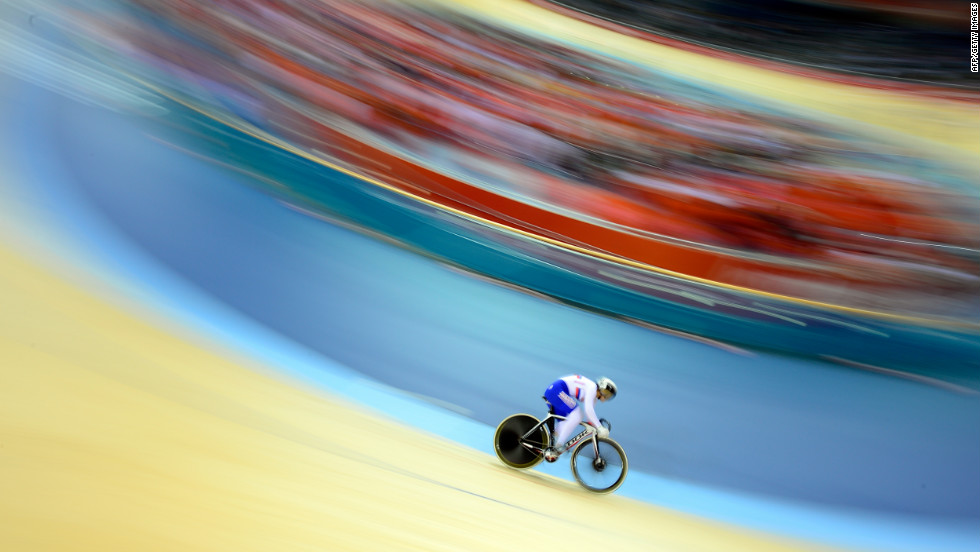 Russia's Ekaterina Gnidenko warms up before the women's cycling-track keirin event.