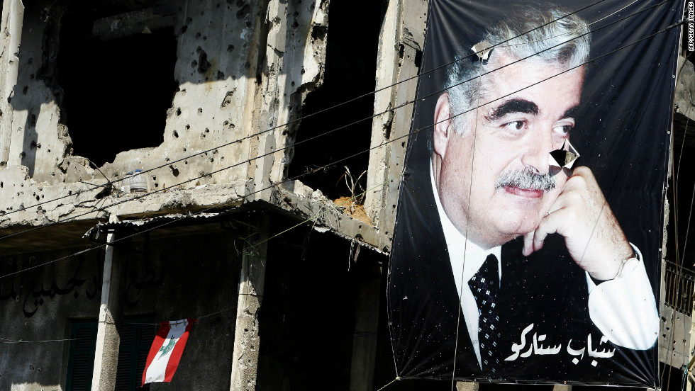 Lebanon's peace has at times been a fragile one. In 2005, Prime Minister Rafik Hariri (pictured in the poster) was assassinated by a car bomb in central Beirut. Huge public demonstrations against Syria led to the withdrawal of all Syrian military forces in April 2005. The kidnapping of two Israeli soldiers by Hezbollah in 2006 led to a 34-day conflict with Israel that left approximately 1,200 civilians dead, according to the CIA World Factbook.