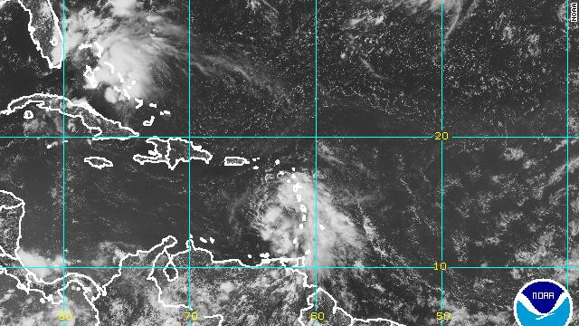 A NOAA satellite image shows Tropical Storm Ernesto in the Caribbean Sea, just west of the Windward Islands, on Friday.
