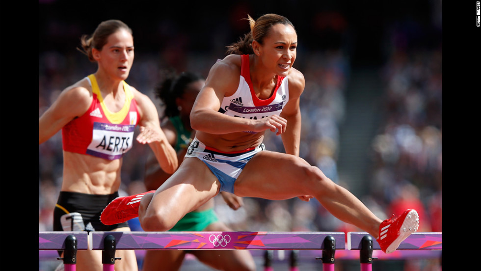 Jessica Ennis of Great Britain competes in the women's heptathlon 100-meter hurdles heat.