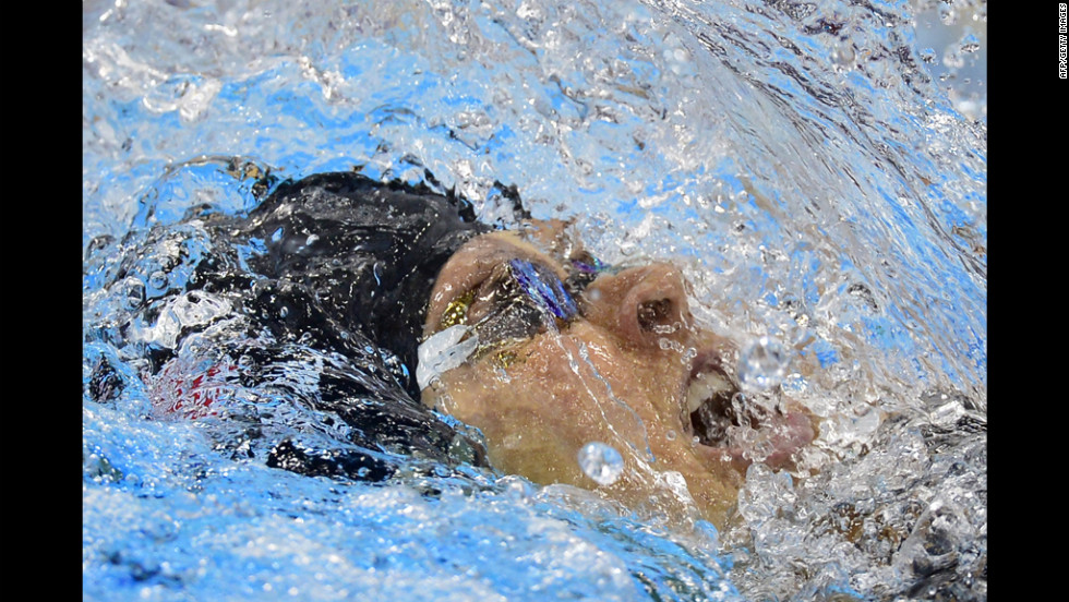 United States swimmer Elizabeth Beisel competes in the women's 200-meter backstroke semi-finals swimming event.