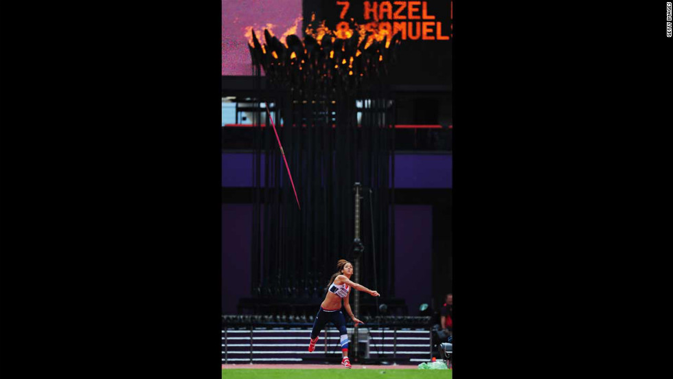 Great Britain's Louise Hazel competes in the women's heptathlon javelin throw.