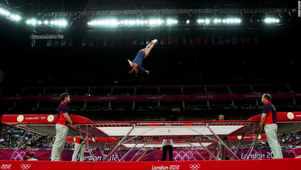 Savannah Vinsant of the United States competes in women's trampoline.