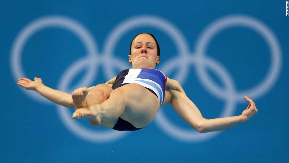 Rebecca Gallentree of Great Britain competes in the women's 3-meter springboard diving semifinal.