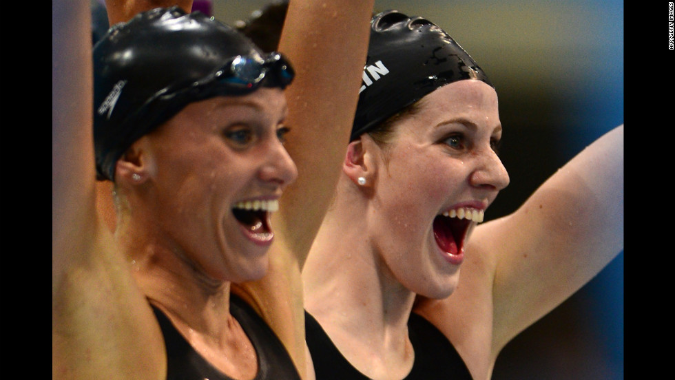 Dana Vollmer, left, and Missy Franklin, right, react after winning gold in the women's 4x100m medley relay final.