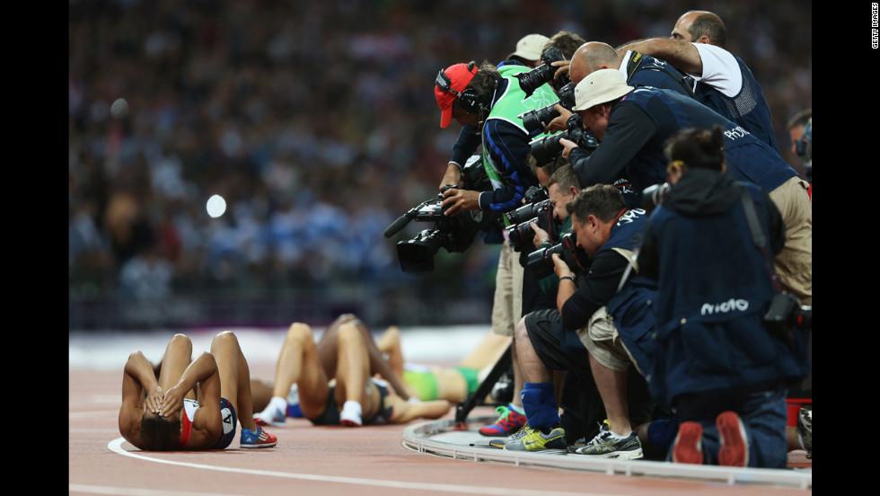 Jessica Ennis of Great Britain celebrates winning gold in the women's heptathlon.