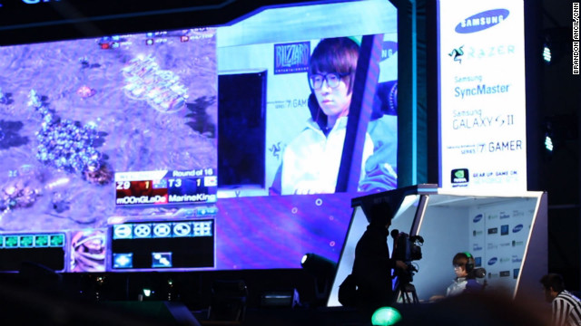 "Professional ""StarCraft II"" player MarineKing competes at the World Cyber Games."