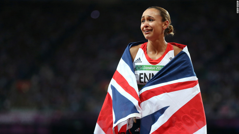 Jessica Ennis of Great Britain is overcome with emotion after winning gold in the women's heptathlon.