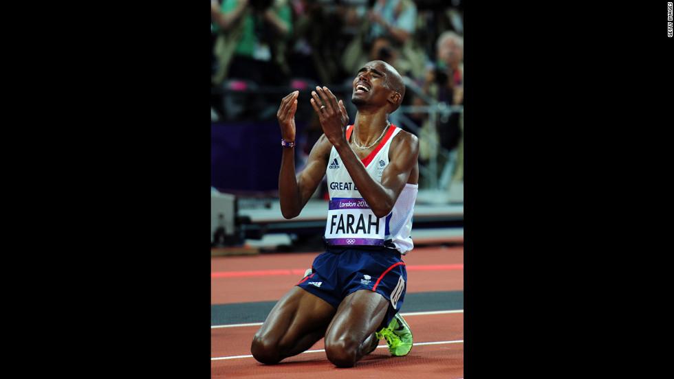 Mohamed Farah of Great Britain celebrates winning gold in men's 10,000-meter final.