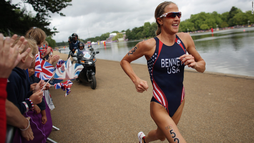 Laura Bennett of the United States runs in the women's triathlon Saturday in Hyde Park.