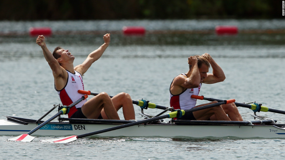 Rasmus Quist and Mads Rasmussen of Denmark celebrate winning gold in the lightweight men's double sculls final.