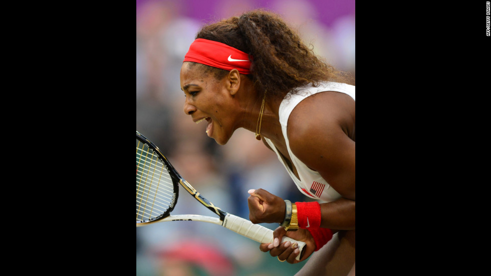 Serena Williams revels in the moment as she plays with her sister Venus against the Czech Republic's Andrea Hlavackova and Lucie Hradecka during the women's doubles gold medal match.