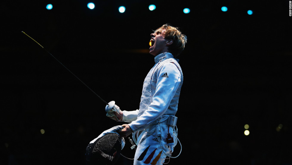 "Peter Joppich of Germany celebrates beating Alexey Cheremisinov of Russia during the men's foil team fencing quarterfinal. Check out photos of <a href=""http://www.cnn.com/2012/08/06/worldsport/gallery/olympics-day-ten/index.html"" target=""_blank"">Day 10 of the competition</a> from Monday, August 6."