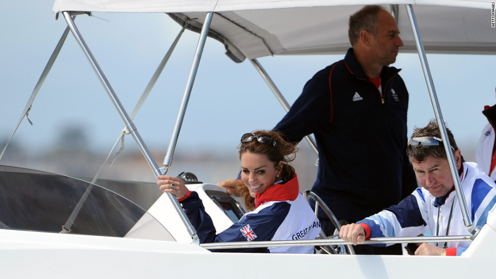 Catherine, Duchess of Cambridge, and Sir Timothy Laurence attend the women's laser radials race at the Weymouth & Portland Venue at Weymouth Harbour.