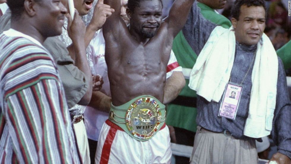 Nelson celebrates his win after a bout against Jeff Fenech on 28 June 1991.