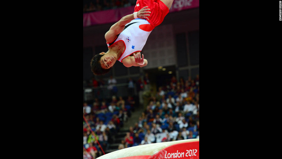 South Korea's Yang Hak Seon launches to win gold in the men's vault final.