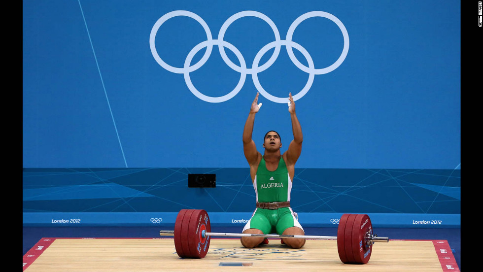 Walid Bidani of Algeria competes in the men's 105-kilogram weightlifting.