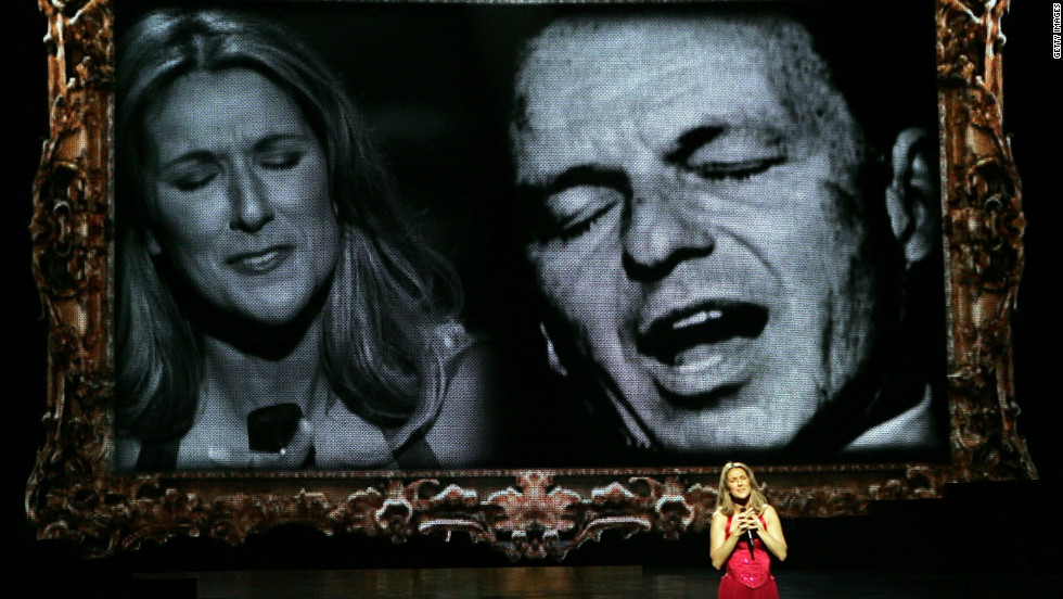 """""""All the Way,"""" Celine Dion's duet with Frank Sinatra, appeared on the Canadian singer's 1999 album """"All the Way ... A Decade of Song."""" Dion is shown here performing the song during her Las Vegas show in 2006. (Sinatra recorded the tune in 1957.)"""