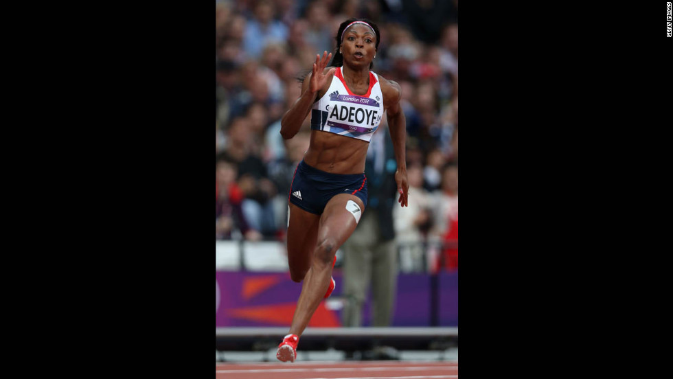 Margaret Adeoye of Great Britain competes in the women's 200-meter heat.
