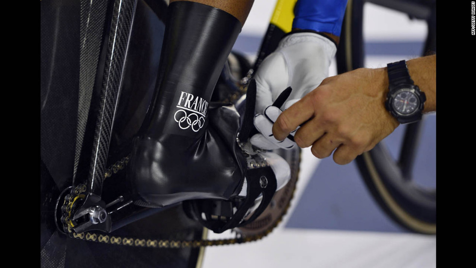 France's Gregory Bauge prepares to compete in the men's sprint semifinal cycling event.