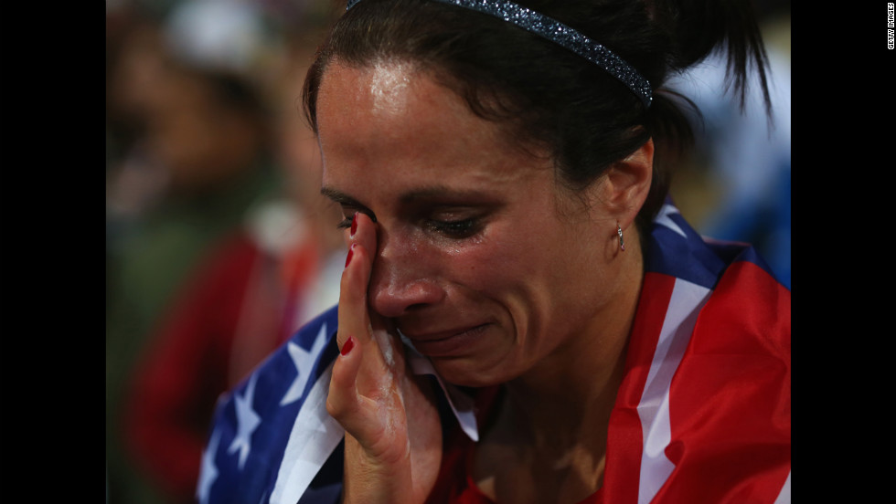 Jennifer Suhr shows her emotion after winning gold.